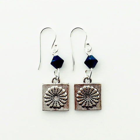 ____ Dresden Quilt Patch Silver Earrings with Blue Swarovski Crystals.