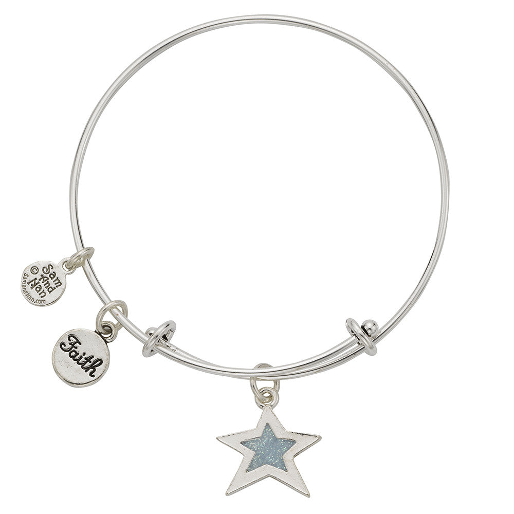 Light Blue Star Faith Charm Bangle Bracelet - SamandNan