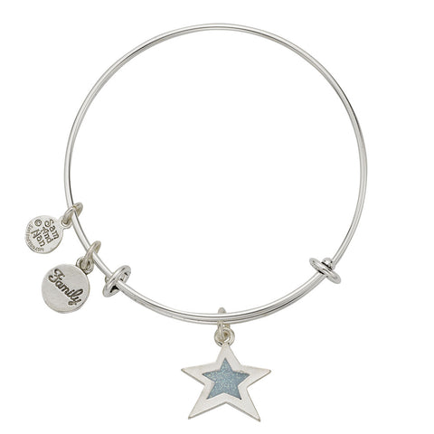 Light Blue Star Family Charm Bangle Bracelet - SamandNan