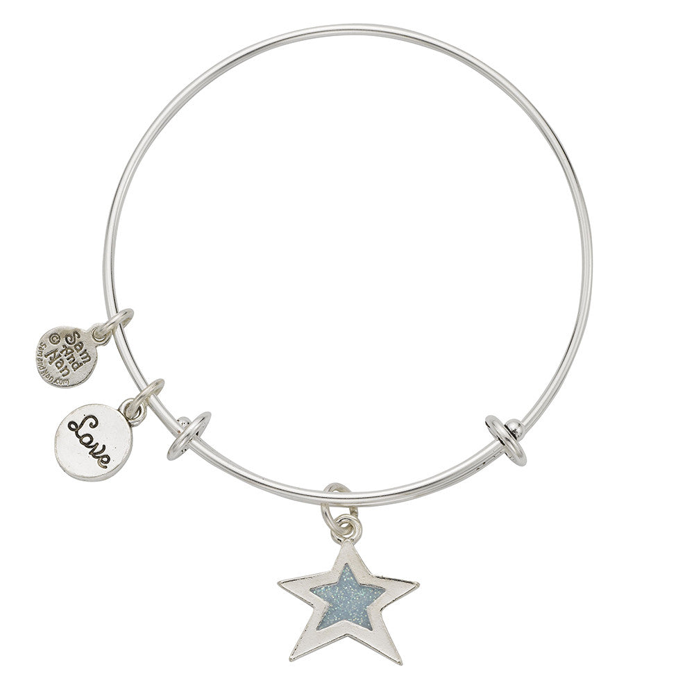 Light Blue Star Love Charm Bangle Bracelet - SamandNan