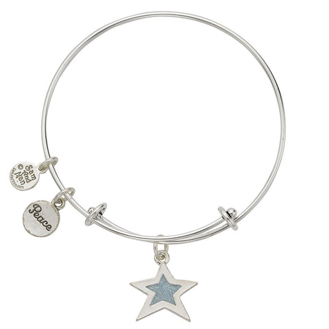 Light Blue Star Peace Charm Bangle Bracelet - SamandNan