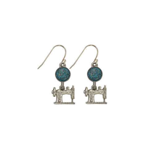 Blue Sewing Machine Earrings - SamandNan
