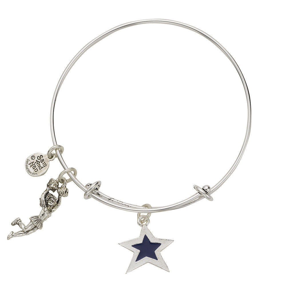 Blue Star Cheerleader Bangle Bracelet - SamandNan