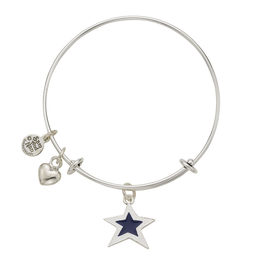 Blue Star Puff Heart Bangle Bracelet - SamandNan