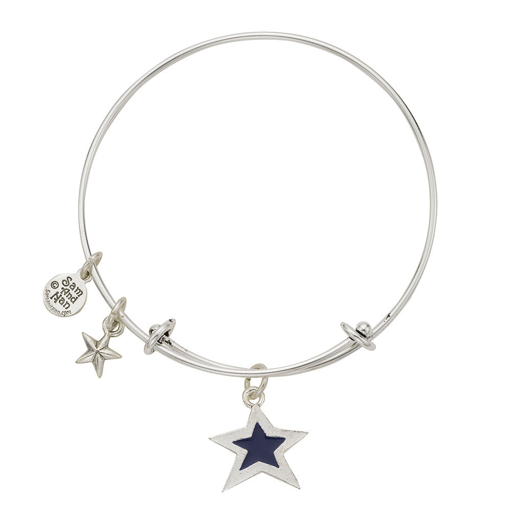 Blue Star Puff Star Bangle Bracelet - SamandNan