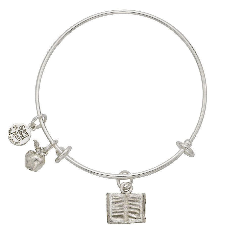 Book Apple Charm Bangle Bracelet - SamandNan