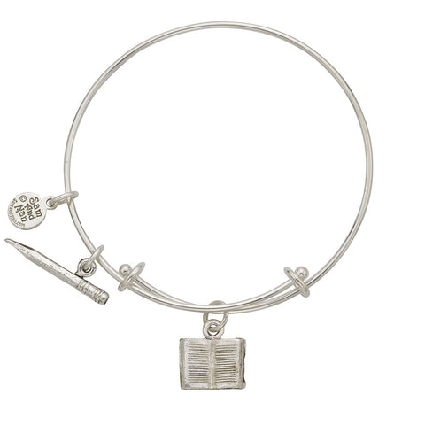 Book Pencil Charm Bangle Bracelet - SamandNan