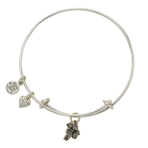 Bouquet Heart Charm Bangle Bracelet - SamandNan