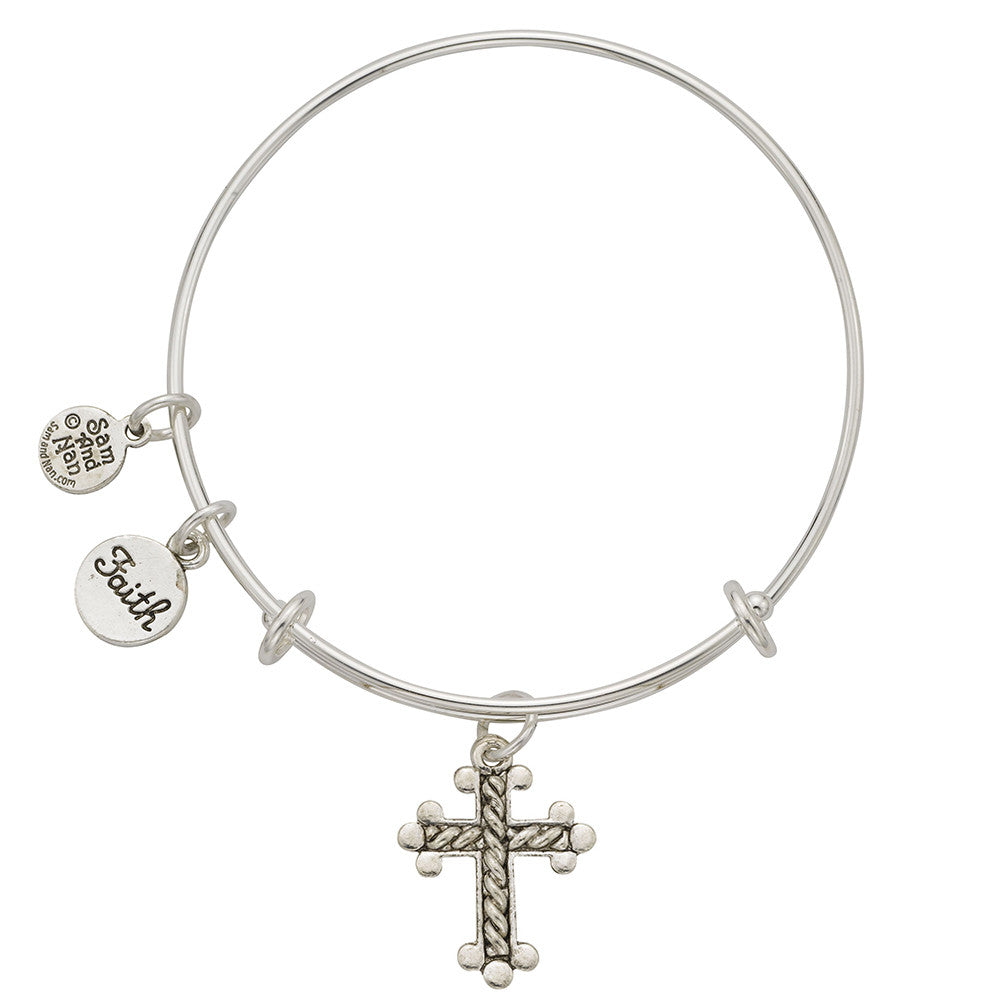 Braided Cross Faith Charm Bangle Bracelet - SamandNan