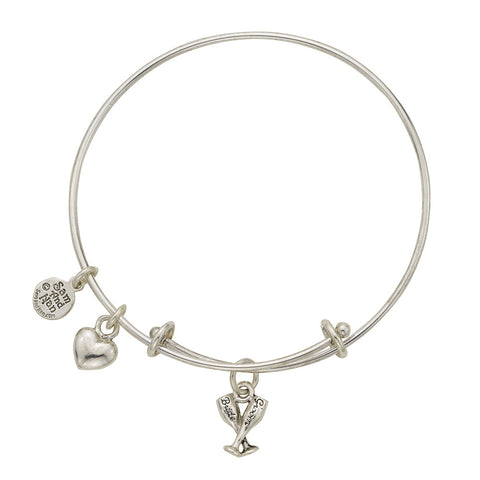 Bride and Groom Champagne Glasses Charm Bangle Bracelet - SamandNan