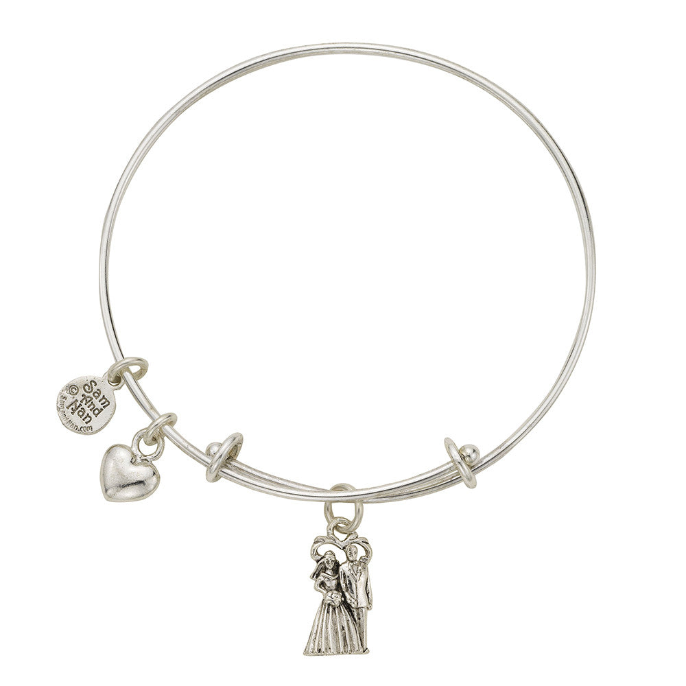 Bride and Groom Charm Bangle Bracelet - SamandNan