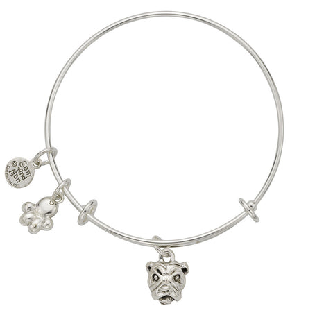 Bulldog Paw Charm Bangle Bracelet - SamandNan