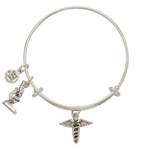 Caduceus Charm Bangle Bracelet - SamandNan
