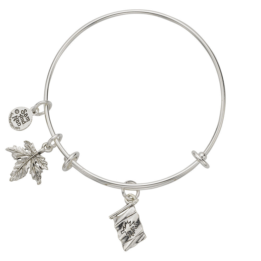 Canadian Flag Maple Leaf Charm Bangle Bracelet - SamandNan