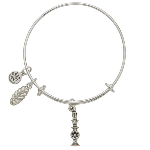 Candle Holder, Challah Charm Bangle Bracelet - SamandNan