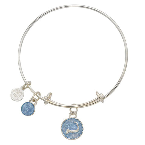 Cape Cod Blue Sparkle Bangle Bracelet - SamandNan