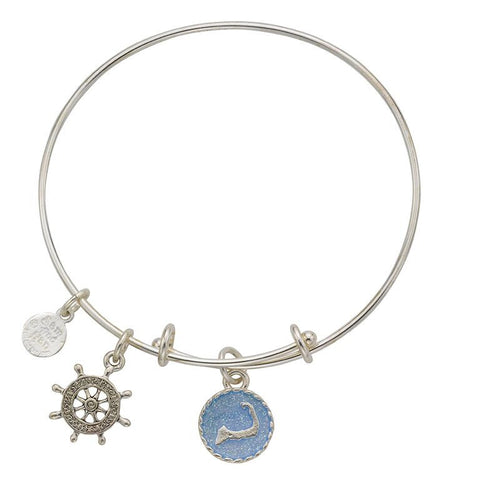 Cape Cod Ships Wheel Bangle Bracelet - SamandNan