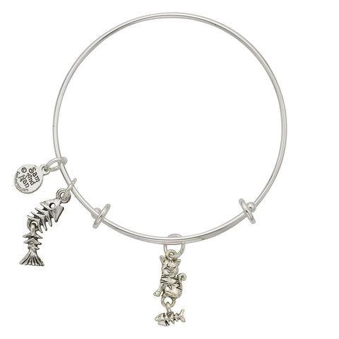 Cat Fish Skeleton Charm Bangle Bracelet - SamandNan