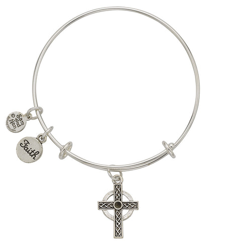Celtic Cross Faith Charm Bangle Bracelet - SamandNan