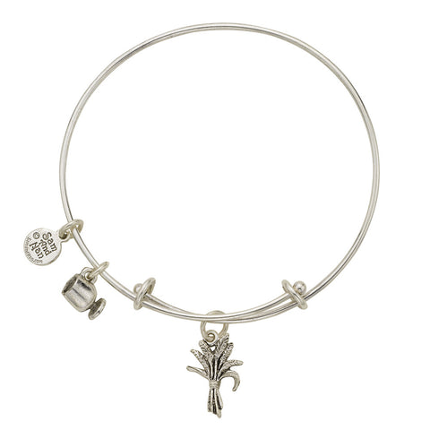 Chaf Of Wheat Charm Bangle Bracelet - SamandNan
