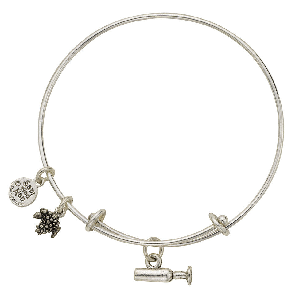 Champagne Glass Charm Bangle Bracelet - SamandNan