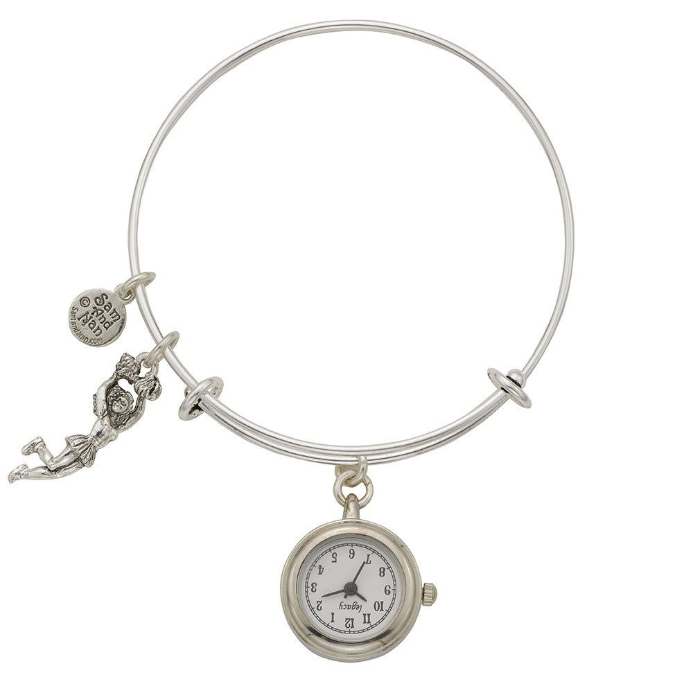 Cheerleader Pendant Watch Silver Bangle Bracelet - SamandNan