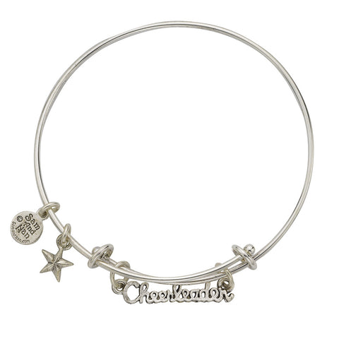 Cheerleader Text Two Rings Charm Bangle Bracelet - SamandNan