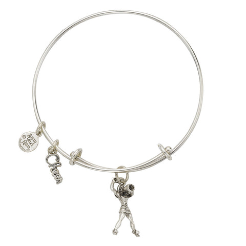 Cheerleader With Megaphone Charm Bangle Bracelet - SamandNan