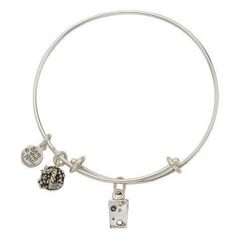 Cheese Wedge Charm Bangle Bracelet - SamandNan