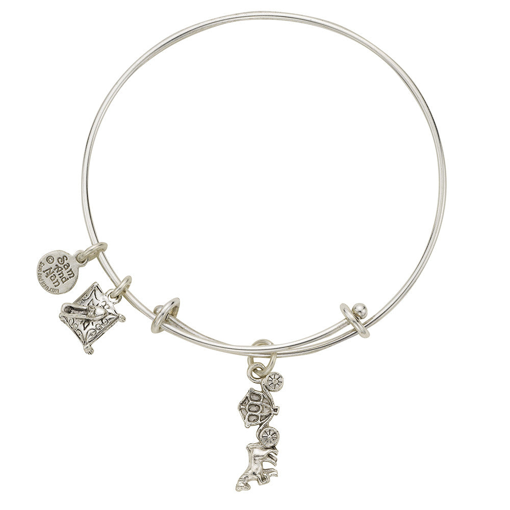 Cinderella Slipper Charm Bangle Bracelet - SamandNan