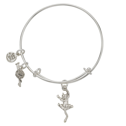 Cat Ball of Yarn Charm Bangle Bracelet - SamandNan