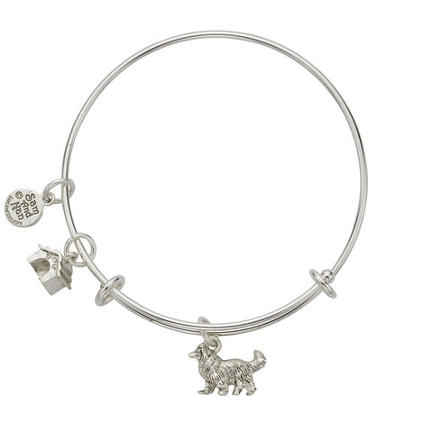 Collie Dog House Charm Bangle Bracelet - SamandNan