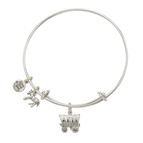 Covered Wagon Charm Bangle Bracelet - SamandNan