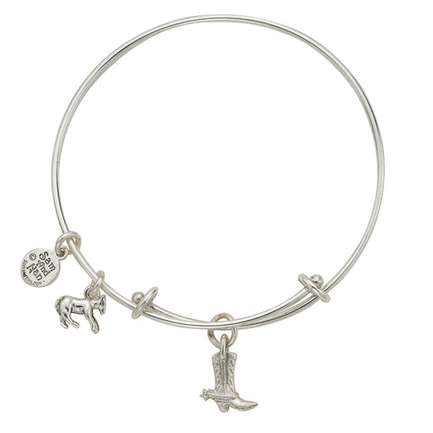 Cowboy Boot Charm Bangle Bracelet - SamandNan