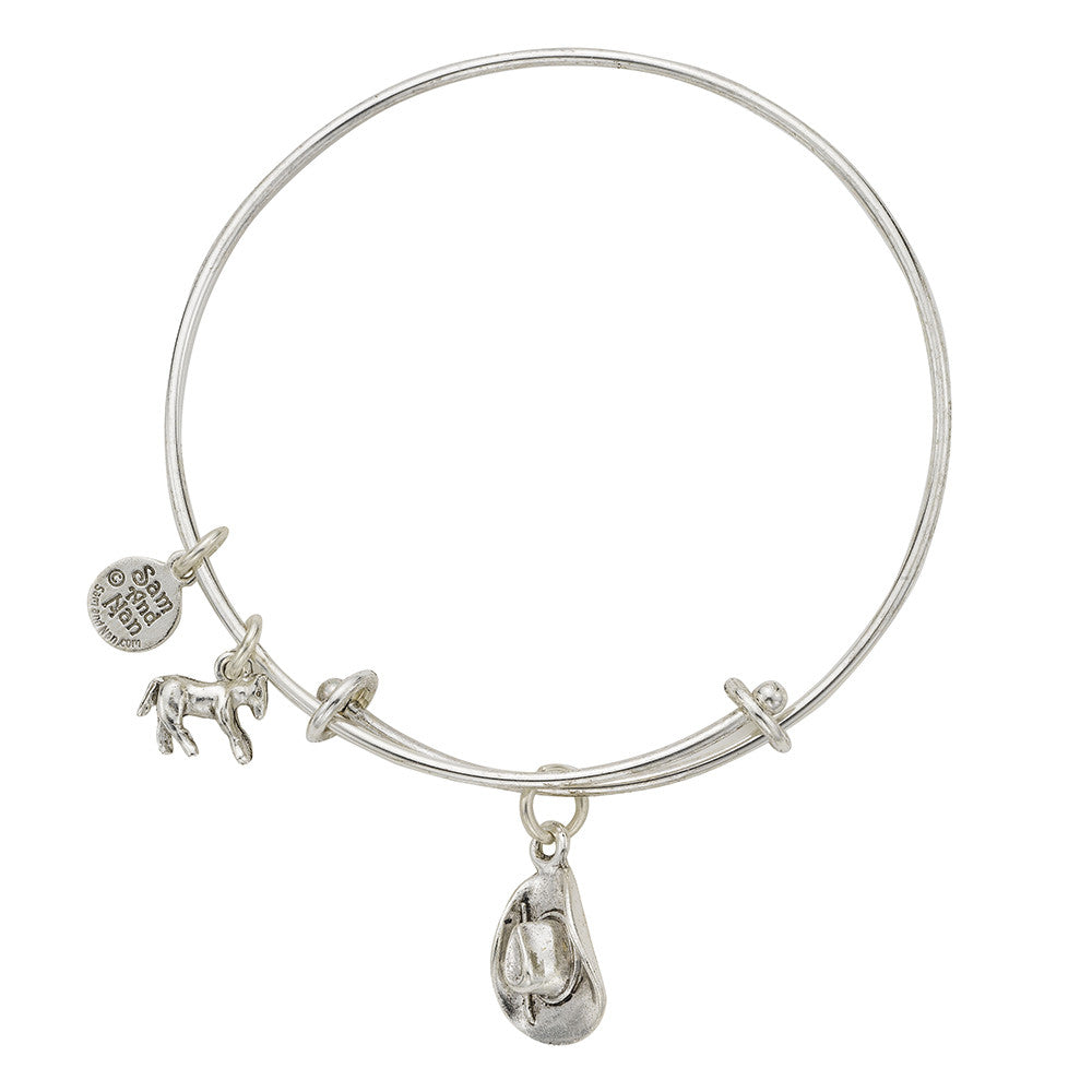 Cowboy Hat Charm Bangle Bracelet - SamandNan