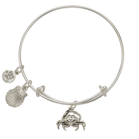 Crab Scallop Shell Charm Bangle Bracelet - SamandNan