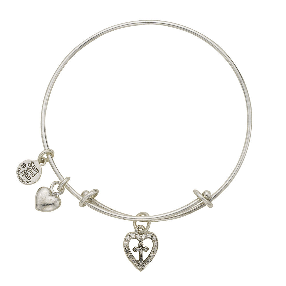 Cross In Heart Charm Bangle Bracelet - SamandNan