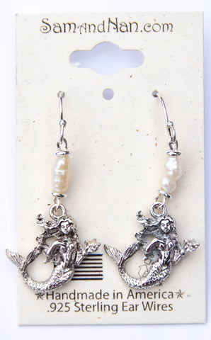 Mermaid Pearl Charm Earrings - SamandNan