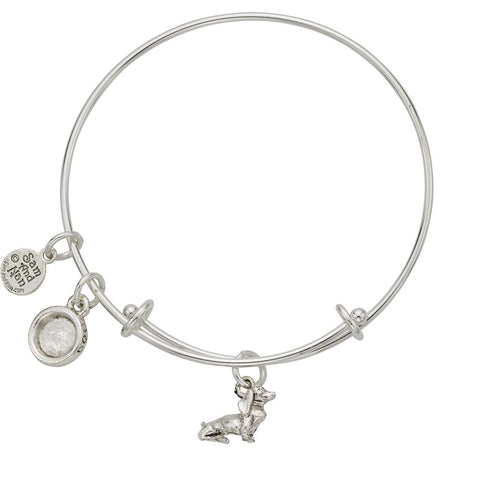 Dachshund Dog Bowl Charm Bangle Bracelet - SamandNan