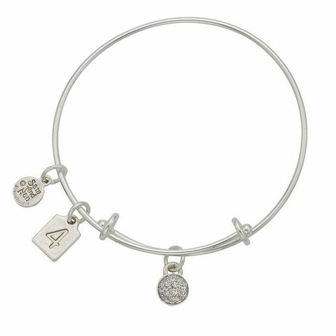 April Silver Birthstone Charms Bangle Bracelet - SamandNan