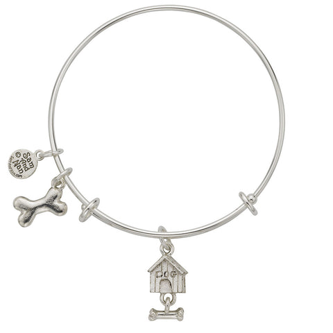 Dog House Dog Bone Charm Bangle Bracelet - SamandNan
