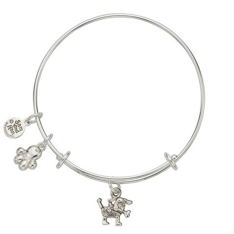 Dog with Bone Charm Bangle Bracelet - SamandNan