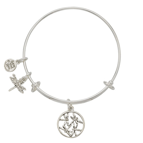 Dragonfly Disk Charm Bangle Bracelet - SamandNan