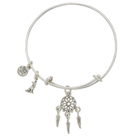 Dream Catcher Charm Bangle Bracelet - SamandNan