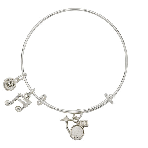 Drum Set Music Note Charm Bangle Bracelet - SamandNan