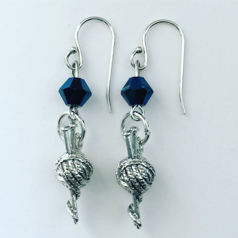 Knitting Earrings with Blue Swarovski Crystals - SamandNan