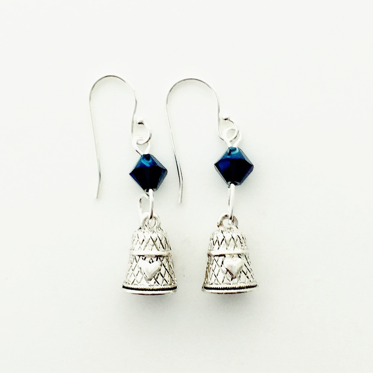 ____ Thimble Silver Earrings with Blue Swarovski Crystals.