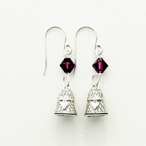 ____ Thimble Silver Earrings with Purple Swarovski Crystals.
