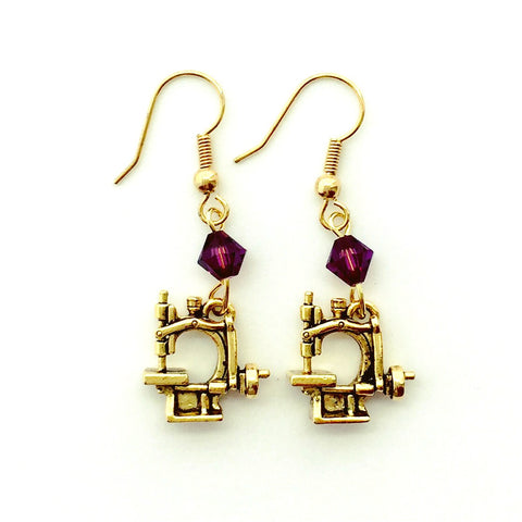 Hand Crank Sewing Machine Gold Earrings with Purple Swarovski Crystals.