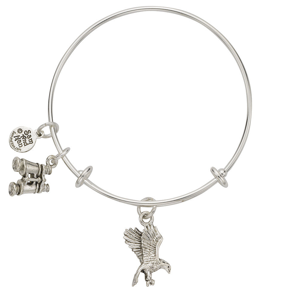 Eagle Binocular Charm Bangle Bracelet - SamandNan